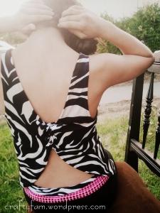 zebra lace up back tank top