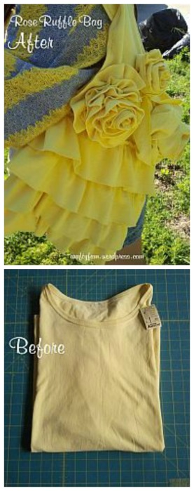 upcycle t-shirt into a Rose Ruffle Bag