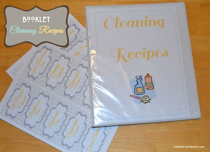 cleaning recipe booklet and labels